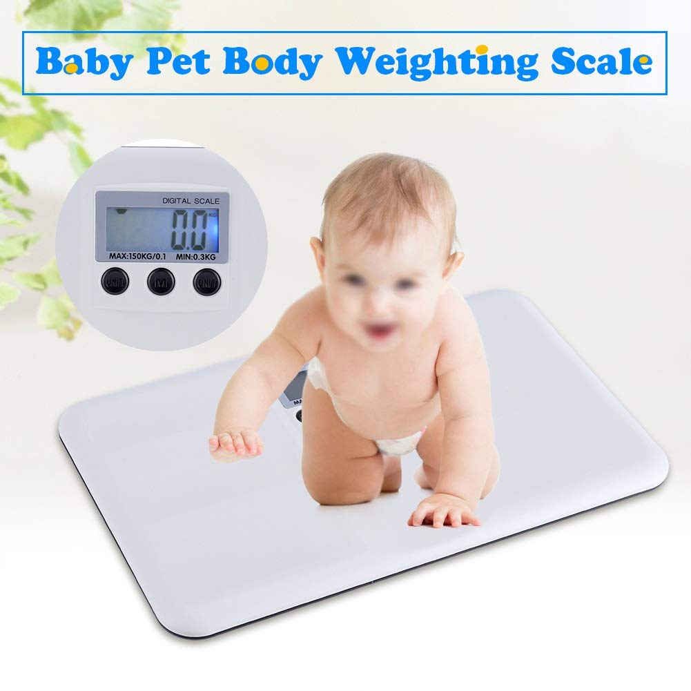 Electronic On//Tare Function Low Battery//Lock Alarm Baby Pet Body Weighting Scale Smart LCD Digital Scale