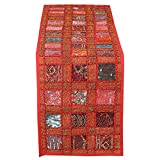 RAJRANG Vintage Style Rajasthani Patchwork Table Runner - Decorative Luxury Coffee Table Placemat Hand Embroidered Colorful Red Cotton Hippie Decor 12 X 72 Inches