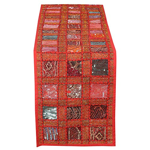 RAJRANG BRINGING RAJASTHAN TO YOU Vintage Style Rajasthani Patchwork Table Runner - Decorative Luxury Coffee Table Placemat Hand Embroidered Colorful Red Cotton Hippie Decor 12x72 Inches (Table Runner Designer)