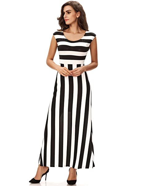 42bbfd4d97 Noctflos Women's Summer Casual Black and White Striped Maxi Dress for  Vacation at Amazon Women's Clothing store: