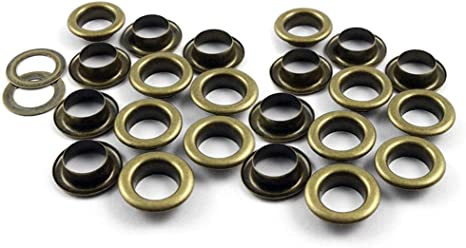 100 Antique Brass Round Grommets Eyelets Washer for DIY Bags Clothes 10mm