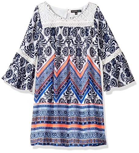 My Michelle Big Girls' Printed Shift Dress with Crochet Yoke, Navy, 7 (Clothes Michelle My)