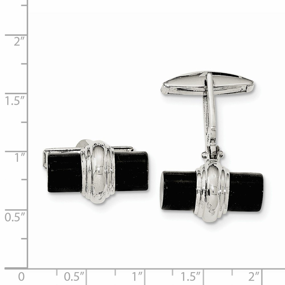 Jewel Tie 925 Sterling Silver Simulated Onyx Cuff Links
