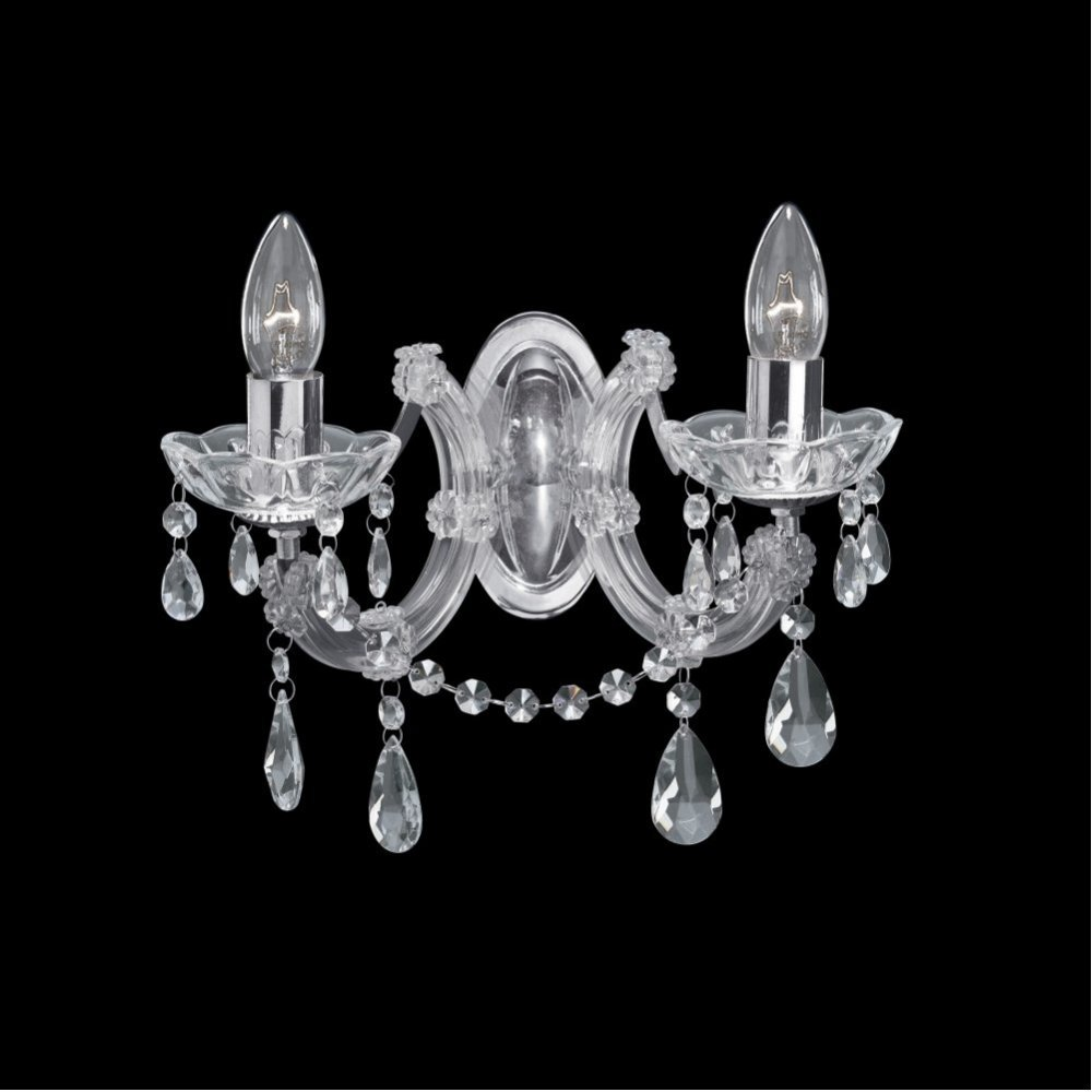 Thlc 2 Light Marie Therese Crystal Wall With Polished Chrome X 60watts Max