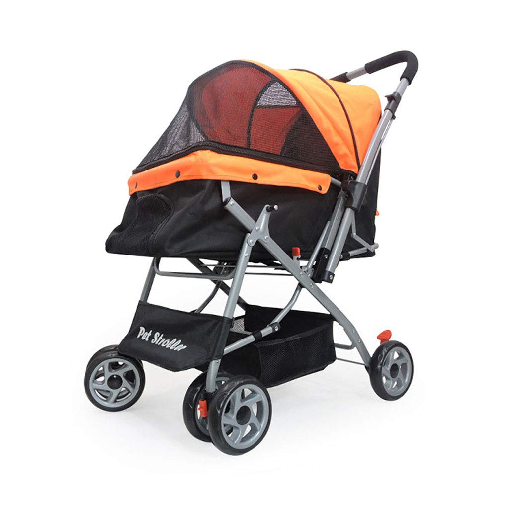 Jzmaoi M4 Pet Stroller Lightweight Folding Carrying Basket Multi-purpose Folding Cart Out Light Hand Trolley For Small Pets. Pet car (color   orange)