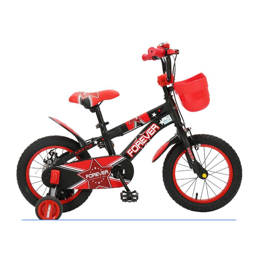 Mariny キッズの自転車2-13歳のユニセックスの子供用自転車12/14/16/18インチのベビーカーキャンパスのトレーニングマウンテンバイク (色 : Black-red, サイズ さいず : 16