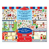 Melissa & Doug Reusable Sticker Pad - My Town, Extra Large Sticker Activity Pad, Removable Backgrounds, 200 Cling-Style Stickers, 35.687 cm H x 28.067 am W x 0.508 cm L