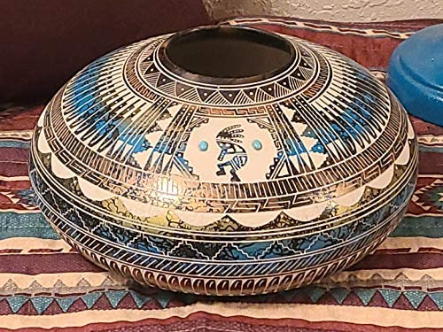 Mission Del Rey Authentic Native American Color Band Horse Hair Pottery