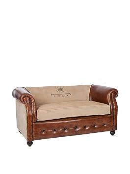 canap vintage 2 chesterfields cuir marron clair et coton polo 145x80x72cm j line - Canape Vintage