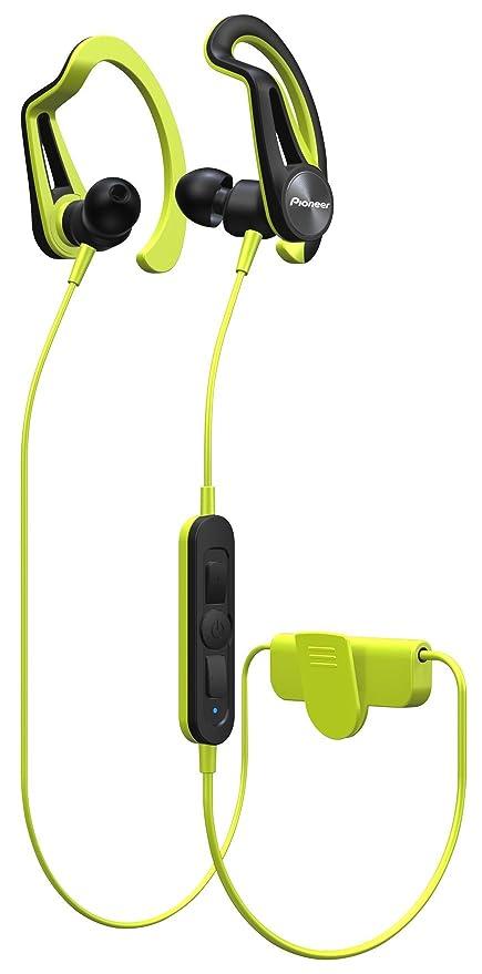 Pioneer SE-E7BT-Y - Auricular Deportivo con Bluetooth, Color Verde