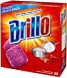 Brillo Steel Wool Soap Pads Jumbo, Red, 30 Count(2Pack)