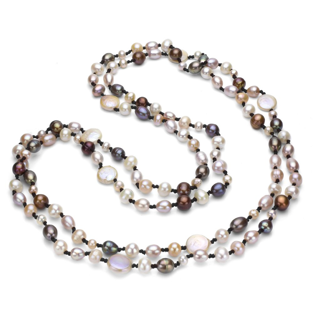 Double-knotted Dyed Multicolor Freshwater Cultured Pearl Endless Necklace, 60''