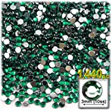 The Crafts Outlet 1440-Piece Flat Back Round Rhinestones, 3mm, Emerald Green