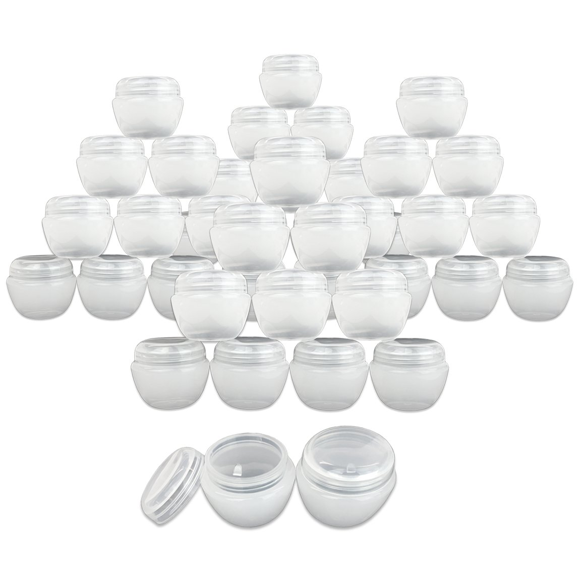 Beauticom 50G/50ML White Frosted Container Jars with Inner Liner for Scrubs, Oils, Salves, Creams, Lotions, Makeup Cosmetics, Nail Accessories, Beauty Aids - BPA Free (72 Pieces)
