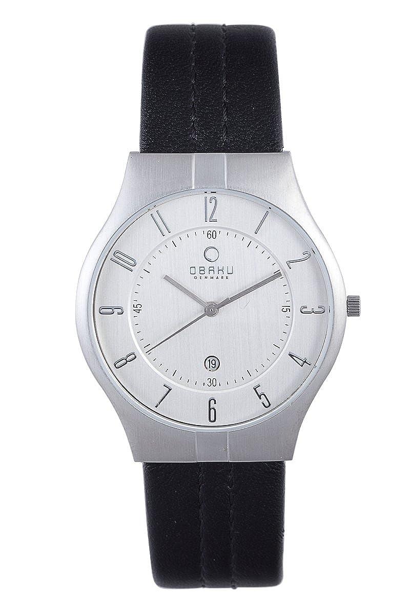 fd5d8f3bd Amazon.com: Obaku Men's V122XCCRB Silver Dial Leather Date Watch: Obaku:  Watches