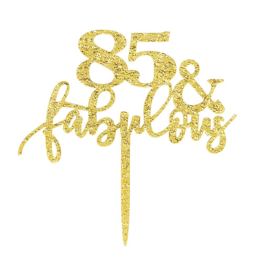 85 & Fabulous Cake Topper, Glitter Gold 85th Birthday Party Cupcake Topper Decoration Sign by INNORU