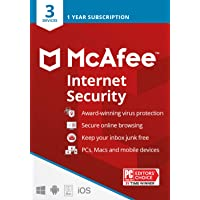 McAfee Internet Security 2021, 3 Device, Antivirus Software, 3 Device Password Protection, 1 Year - Key Card
