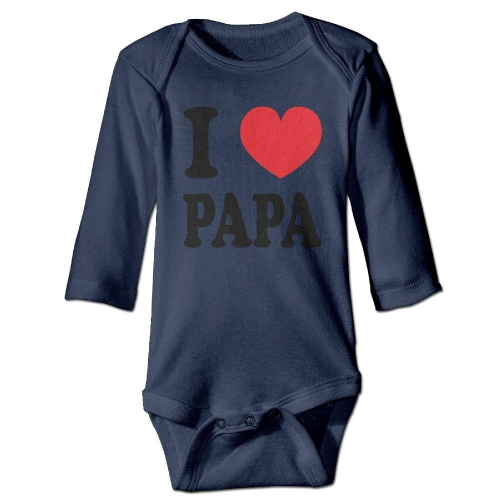 Babys I Love Papa Heart Long Sleeve Romper Onesie Bodysuit Jumpsuit