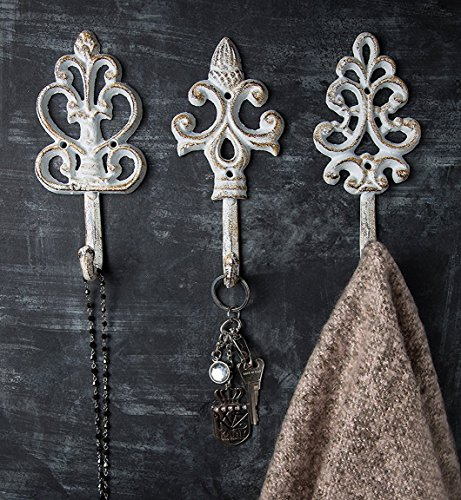 Country Style Home Office (Shabby Chic Cast Iron Decorative Wall Hooks - Rustic - Antique - French Country Charm - Large Decorative Hanging Hooks - Set of 3 - Screws and Anchors for Mounting Included)
