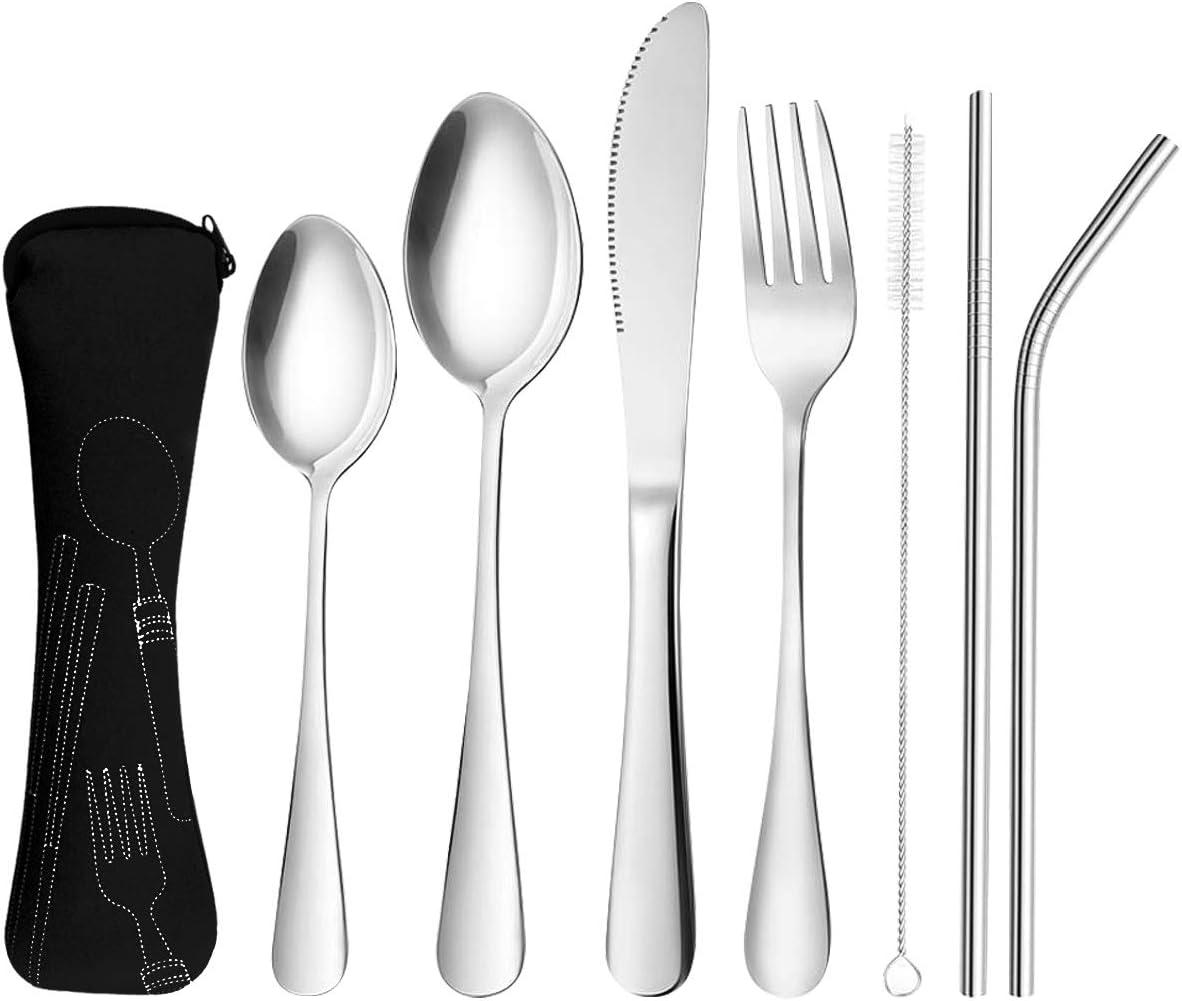 8 Pzs Cubiertos de viaje para Camping Juego de cubiertos de acero inoxidable Set de cubiertos de viaje al aire libre cuchillo tenedor cuchara ...