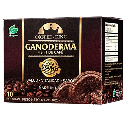 Ganoderma Lucidum Coffee - 4-in-1 Ganoderma Coffee(10 Sachets) - Healthy Coffee with Ganoderma Lucidum Mushrooms. An instant coffee with No Dairy Creamer, Sweetener.