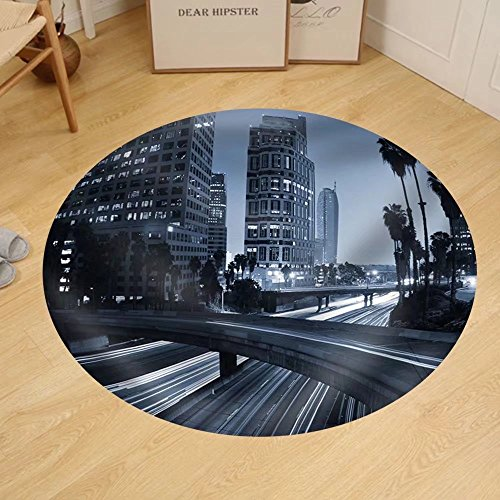 Gzhihine Custom round floor mat Traffic Through Downtown Los - Stores In Los Downtown Angeles