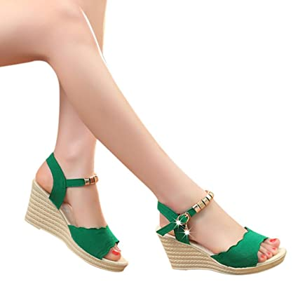 98f42fcb45d78 AIMTOPPY HOT Sale, Summer Wedges Sandals Shinestone Waterproof Platform  open Toe word Buckle women's Shoes (US:7, Green)