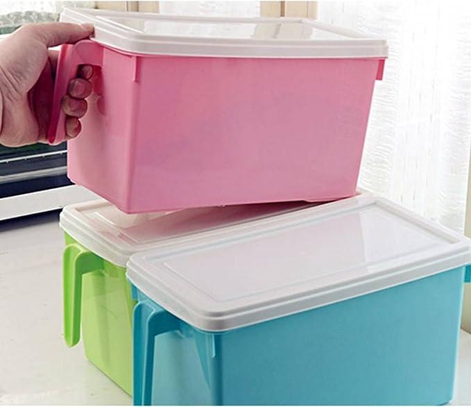 Wly&Home - Caja de Almacenamiento, frigorífico, Mango de plástico para Cocina, contenedor de Alimentos, 5 l: Amazon.es: Hogar