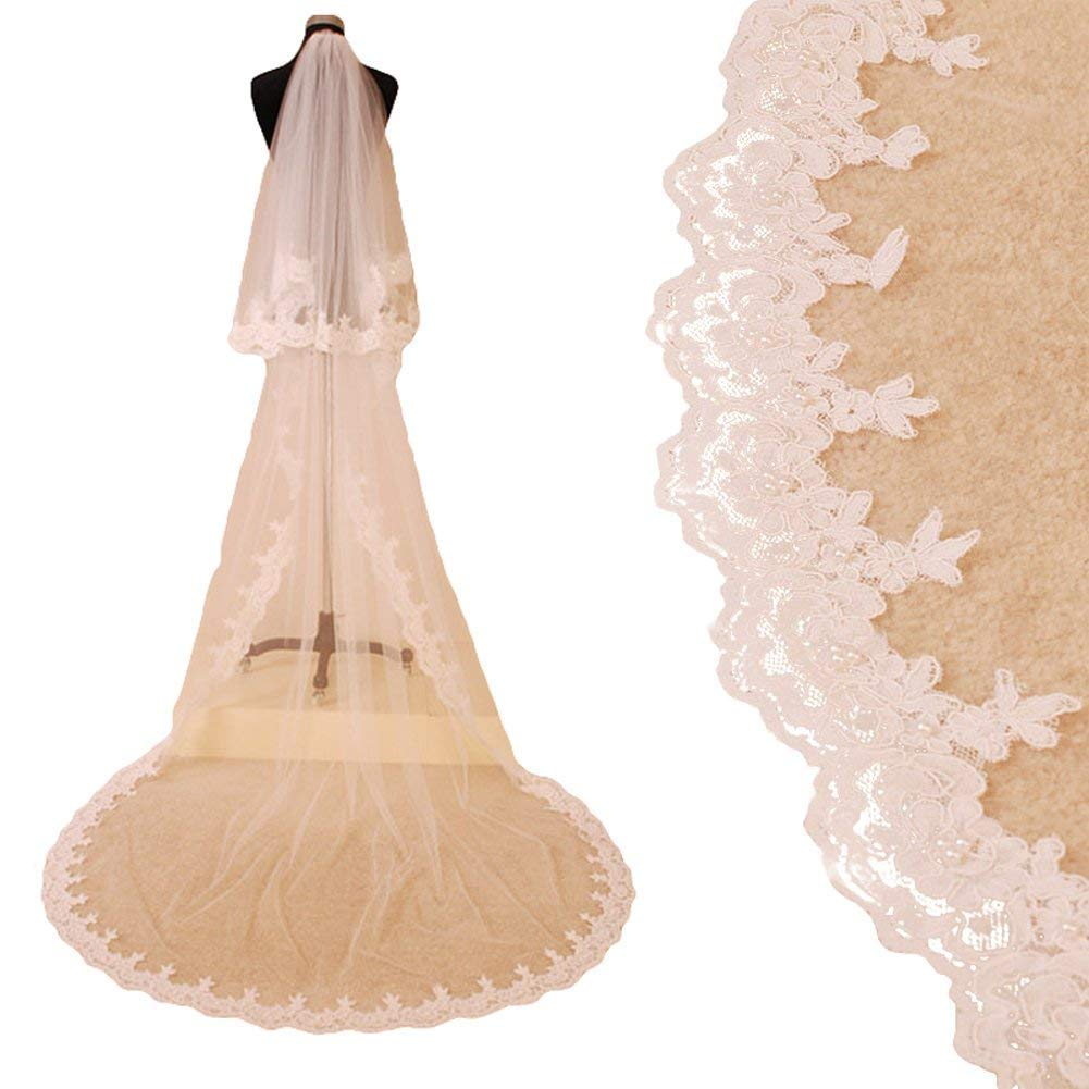 Fenghuavip 2 Tier 2T Lace Applique Edge bridal Veils For Cathedral Wedding with Free Comb (6 Meters, White)