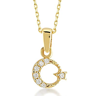 Amazon com: Gelin 14k Real Gold Moon Star (Turkish Ay Yildiz) Chain