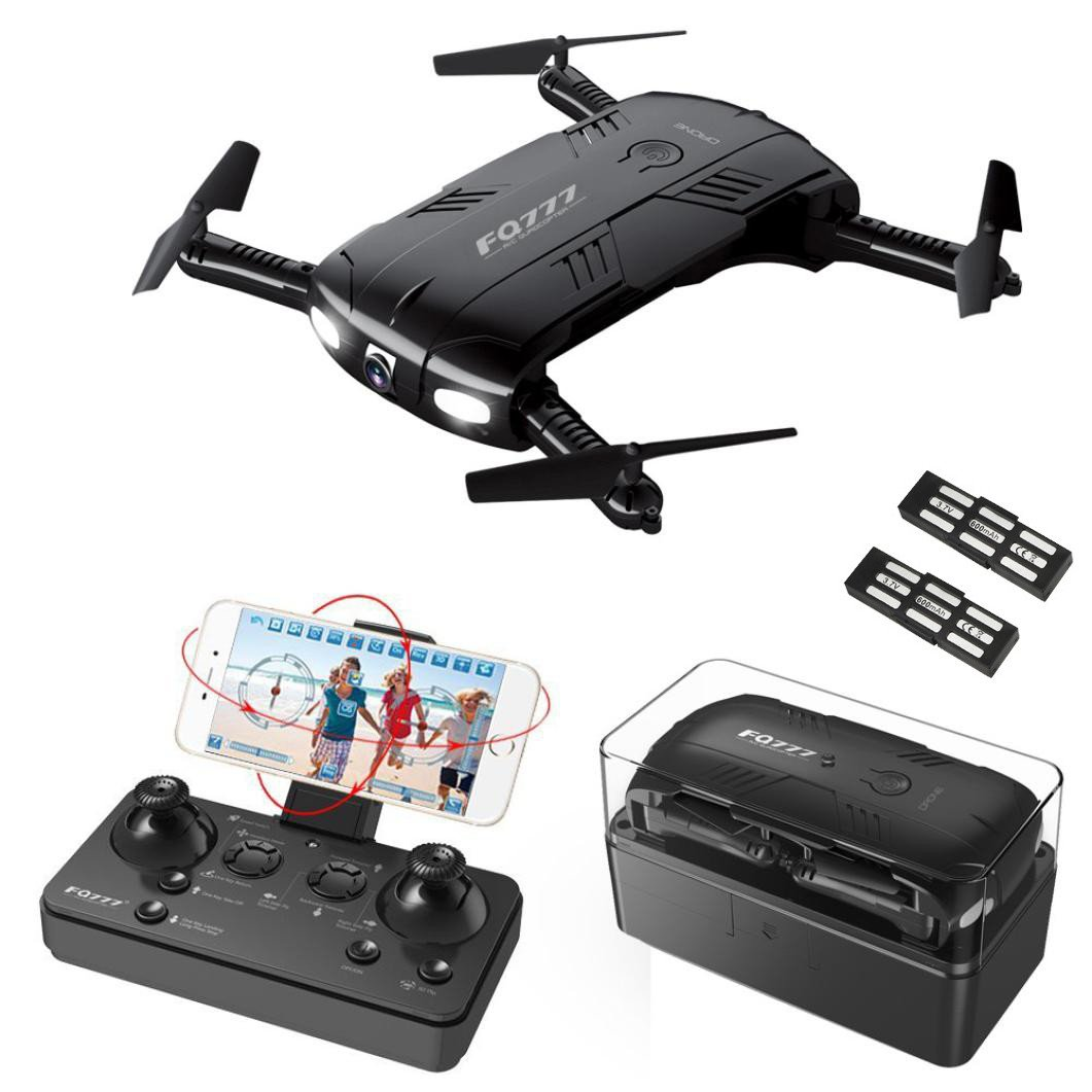 Choosebuy RC Drone with HD Camera, WiFi 2.0MP Camera Live Feed FPV/One Key Return/Foldable Quadcopter/Headless Mode Toy Outdoor Gift for Beginners (Black) by Choosebuy (Image #1)