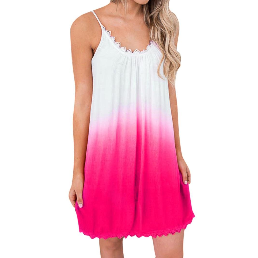Paymenow Clearance Women Sexy Gradient Color Spaghetti Strap Sleeveless Lace Mini Tank Dress Summer Swing Tunic Dress (L, Hot Pink) by Paymenow Clearance (Image #1)