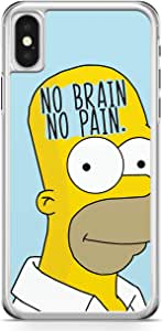 iPhone X Transparent Edge Phone Case Simpson Phone Case No Brain iPhone X Cover with Transparent Frame