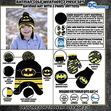 cf57a6f4fb9 Amazon.com  DC Comics Toddler Boys Batman Hat and 2 Pair Mittens Cold  Weather Set