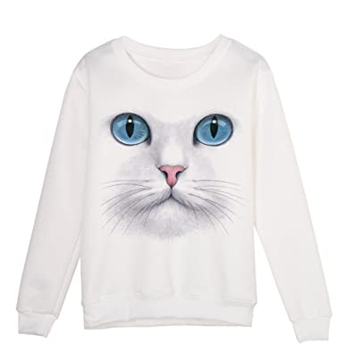 c0eafbb9 Amazon.com: ZOMUSA Hot Sale Women Novelty Sweatshirt Cute 3D Cat Face Print  Sweater Pullover Tops: Clothing
