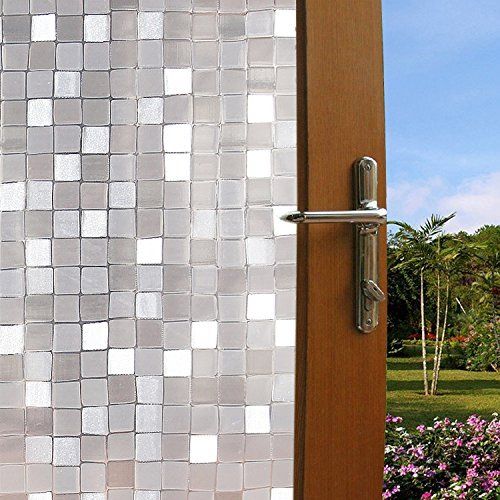 Clear Frosted Mosaic (Becry Plastic Static Cling 3D Mosaic No Adhesive Window Film Heat Control UV Anti Frosted Privacy Window Film,35.5-by-78.7 Inches(90 x 200CM))
