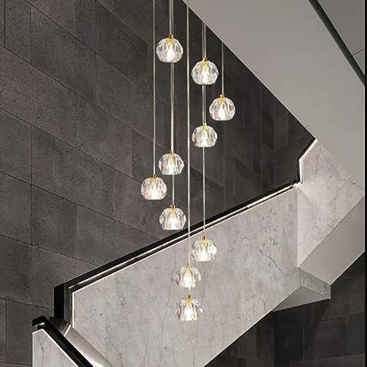 Lámpara colgante,Lámpara de cristal posmoderna Luz Escalera de caracol larga Lámpara de araña de villa Lámpara de piso de ático Lámpara de araña de 46x164 cm La buena vida: Amazon.es: Iluminación