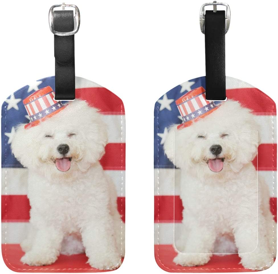 Bichon Frise Baggage Tag For Travel Bag Suitcase Accessories 2 Pack Luggage Tags
