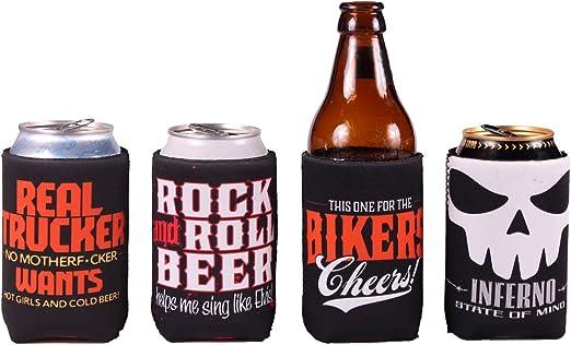 4 Pack divertido beber cerveza puede/botella Humor Coolers regalo Bundle Mix: Amazon.es: Hogar