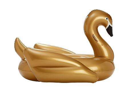 FUNBOY Flotador Hinchable para Piscina 855182006049, Cisne Dorado, 72 Inch L x 45 Inch