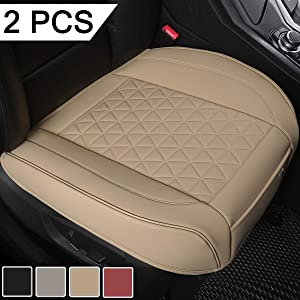 Black Panther 1 Pair Luxury PU Leather Car Seat Covers Protectors for Front Seat Bottoms,Compatible with 90% Vehicles (Sedan SUV Truck Van MPV) - Beige,Triangle Pattern (21.26×20.86 Inches)
