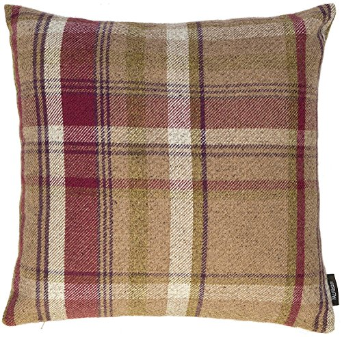 McAlister Heritage Plush Woven Plaid Euro Sham Pillow Cover | Flannel Wool, Striped Tartan Check | 24x24 Brown Mulberry Decorative Zip Cushion Case | Cabin Accent, Cozy Farmhouse Decor.