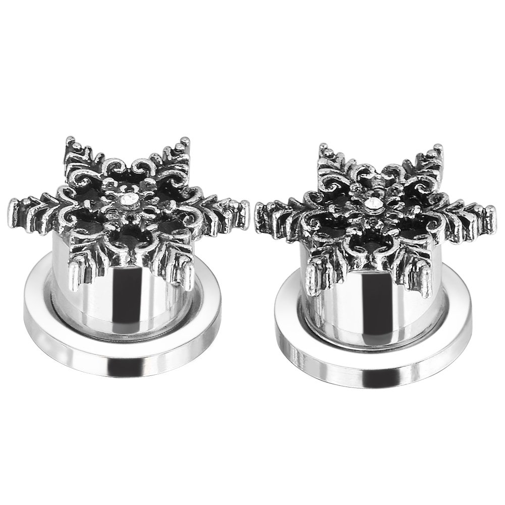 Stainless Steel Pulley Retro Snowflakes Flared Ear Tunnels Plugs Stretcher Expander Kit Gauge 2g-3/4 Puhuideshijimaoyi Co.Ltd YHJ377-10MM-2