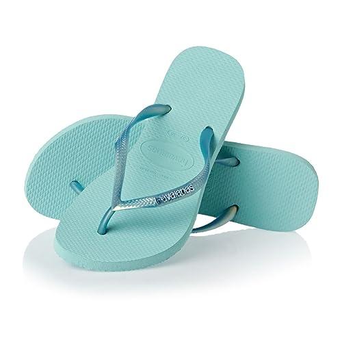 9d6af650ea5583 Havaianas Slim Logo Metallic Ice Blue Flip Flop 35 36  Amazon.ca ...