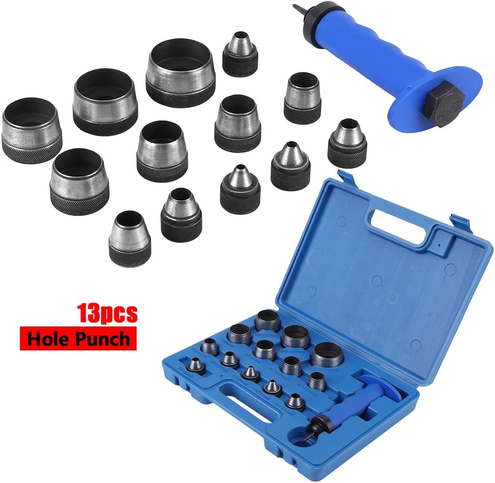 Punch Driver Kit 13pcs Hollow Punch Set with Handle Heavy Duty Leatherworking Belt Hole Punching Tool