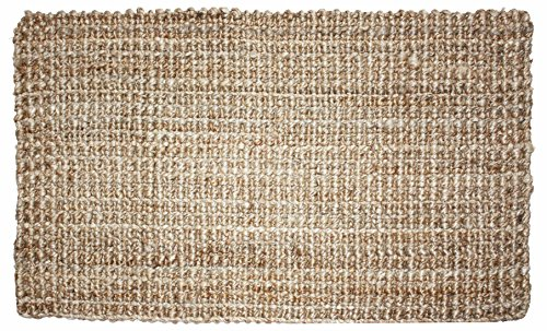Neutral Eco-Friendly Sturdy Rolled Natural Indoor/Outdoor Jute Rug, 24x36