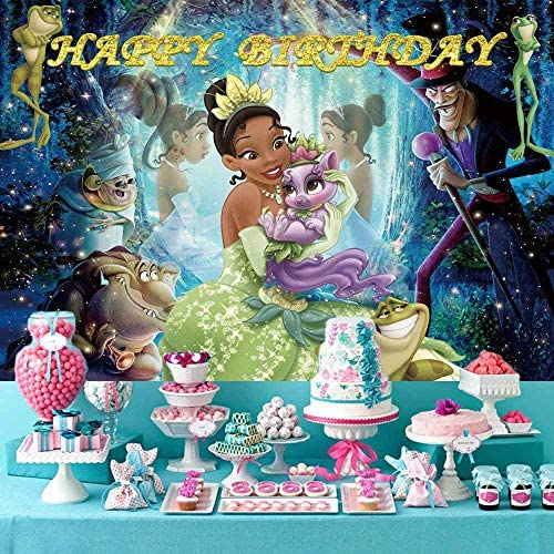 Princess Disney Tiana Backdrop Frog Photo Background for Baby Girls Birthday Party Banner Decorations Children Baby Shower Supplies Cake Table