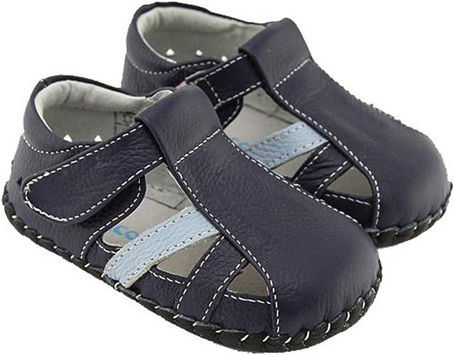 Chaussures premiers pas cuir souple sandales fermées par