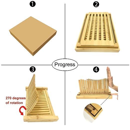 Cortador de pan de bambú, plegable de 3 grosores, cortador de pan ...