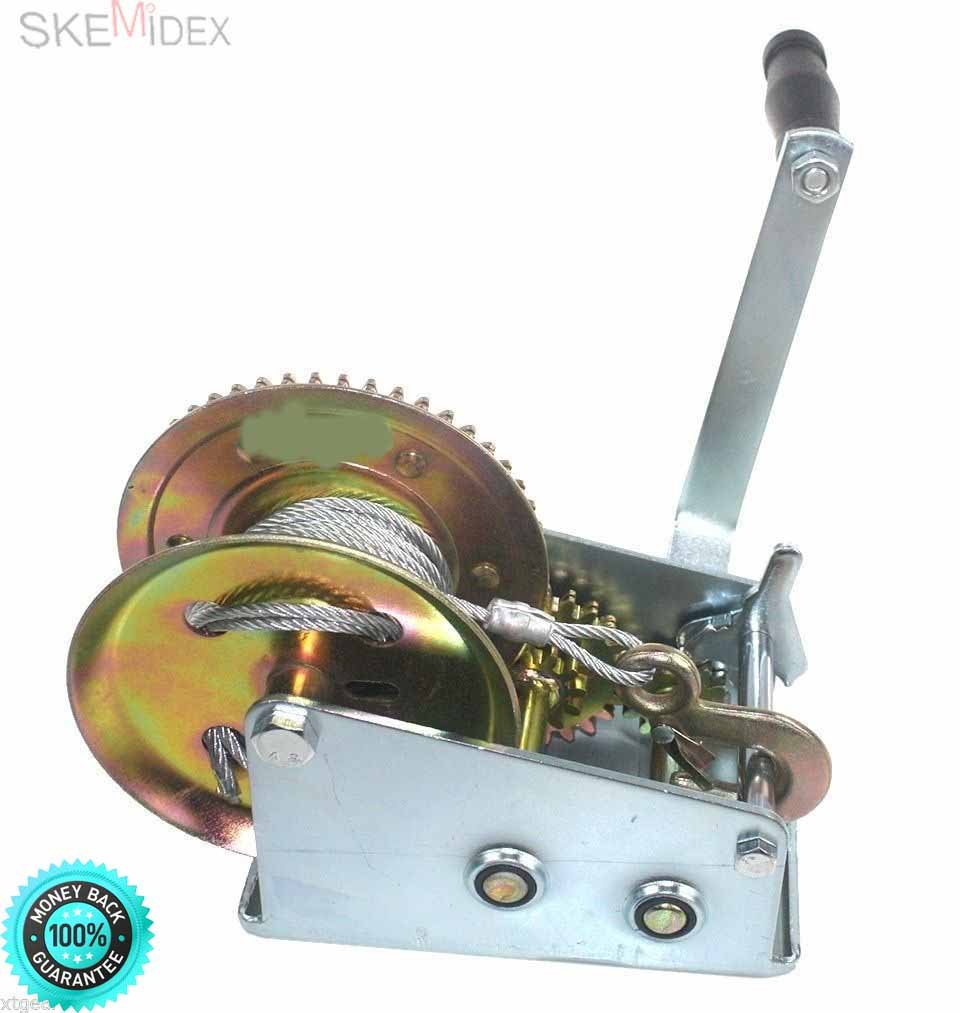 SKEMiDEX--- 3500lbs Geat Winch Hand Crank W/ 32 Feet Cable 4 Boat Trailer Truck Pulling Drop Forged Chrome Vanadium Steel. Use for Tamper-Proof Star fasteners in today's Cars, trucks S.U.V.'s